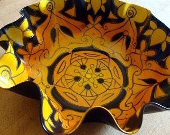 Honeybee Mandala Record Bowl - Yellow and Black Geometric Design - Bohemian Home Decor