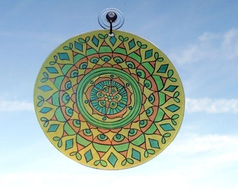 Lemon Lime Mandala Suncatcher - Bohemian Home Decor in Yellow Green and Orange - Boho Kitchen