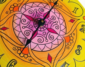 Morocco Clock - Geometric Mandala Home Decor made from Recycled Record