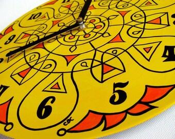 Super Lemon Mandala Record Wall Clock -Tribal Inspired Geometric Home Decor in Yellow and Orange