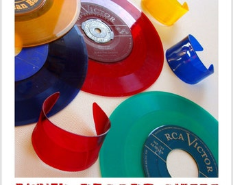 Choose 4 Vinyl Record Cuffs. Red Orange Yellow Blue Green Purple Clear - Color Block Bracelets made from Recycled Vinyl Records
