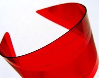 Red Vinyl Record Cuff Bracelet