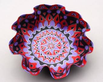 Mardi Gras Mandala Record Bowl - Purple and Red Geometric Design - Bohemian Home Decor - Hand Painted Centerpiece made from Vinyl Record
