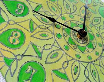 Geometric Yellow and Green Clock - Original Mandala on Recycled Vinyl Record