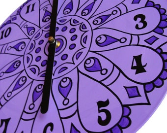 Lavender Mandala Record Clock. Geometric Bohemian Psychedelic Home Decor