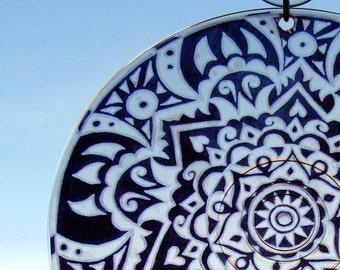 Rebel Rebel Mandala Suncatcher - Geometric Black and White Art - Bohemian Home Decor