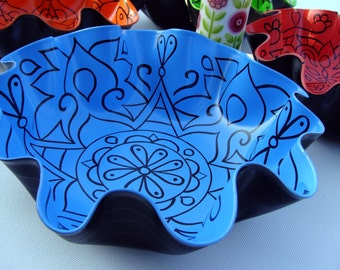 Scuba Blue Mandala Record Bowl.  Bohemian Home Decor.  Psychedelic Geometric Boho Centerpiece