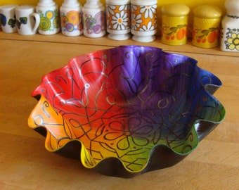 Rainbow Mandala Record Bowl - LGBTQ Pride - Marriage Equality - Psychedelic Multicolored Hand Painted Bohemian Home Decor