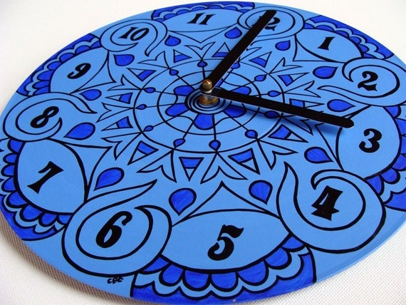 Jewel Tone Clock in Palace Blue - Bohemian Home Decor - Psychedelic Geometric Eco Friendly Gift made from Recycled Vinyl Record