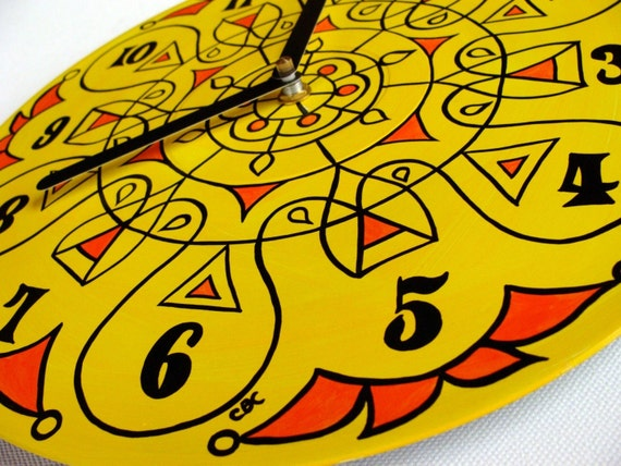 Super Lemon Mandala Record Wall Clock -Tribal Inspired Geometric Home Decor in Yellow and Orange