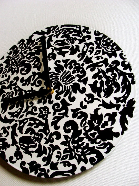 Black and White Damask Record Clock - Hand Painted Bohemian Home Decor made from Recycled Vinyl Record