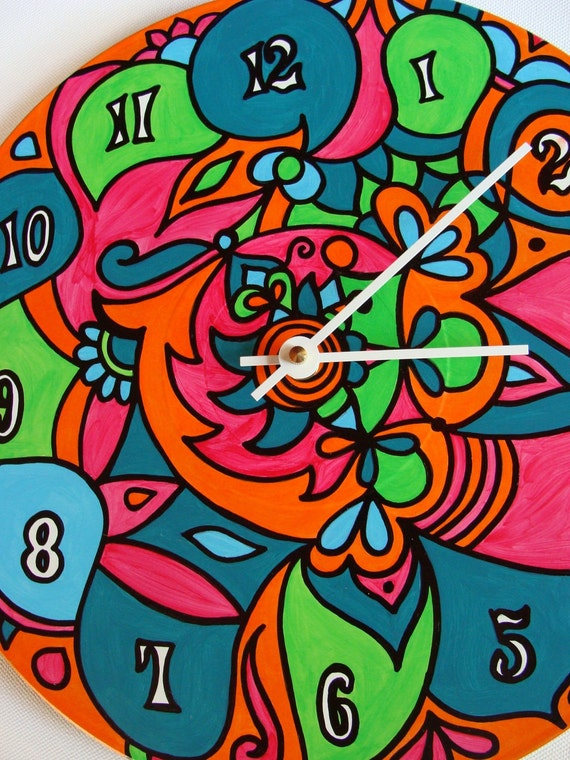 Crazy Clock - Psychedelic Hand Painted Geometric Bohemian Home Decor - Orange Pink and Turquoise - Made from Recycled Vinyl Record