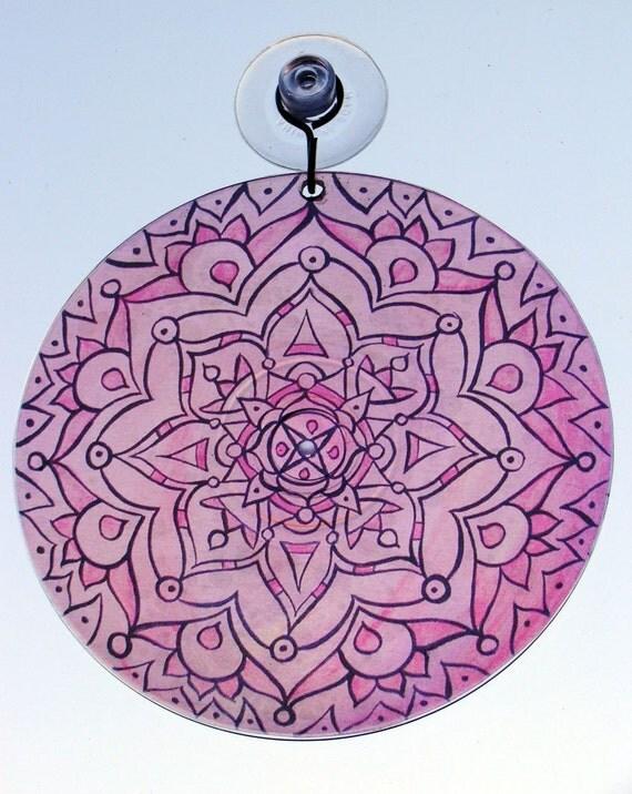 Baby Pink Mandala Suncatcher  - Original Geometric Mandala Art - Psychedelic Bohemian Home Decor - Meditation