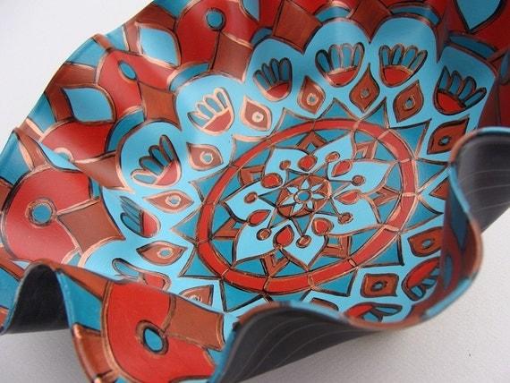 Hawaiian Wedding Mandala Record Bowl -  Geometric Mandala in Turquoise / Teal / Aqua and Brown - Hand Painted Bohemian Home Decor
