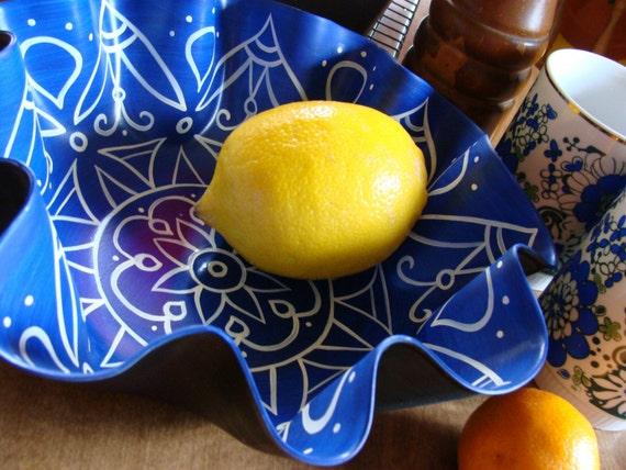 Majolica Blue Mandala Record Bowl - Hand Painted Geometric Design - Blue and White Bohemian Home Decor