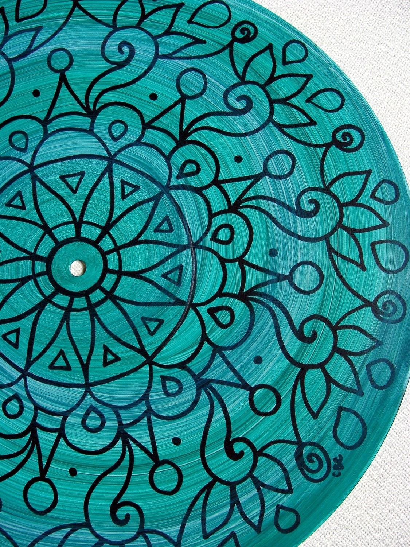 Dark Turquoise Turntable Art Original Mandala Painting On