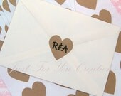 """Customized Heart Stickers - Hand Stamped Initials - Kraft Paper Seals - 1.5"""" - 24 Pieces -Free USA Shipping"""