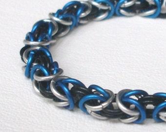 Byzantine Bracelet - Electric Blue, Black, and Silver