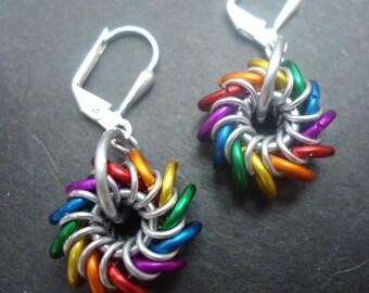 Small Rainbow Whirlybird Earrings on Leverbacks