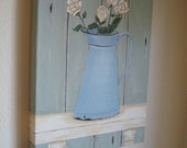 Fresh Flowers in Enamelware- A  French Country Original Painting