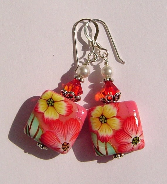 Candy Pink Floral Polymer Clay Pillow Sterling Silver Earrings