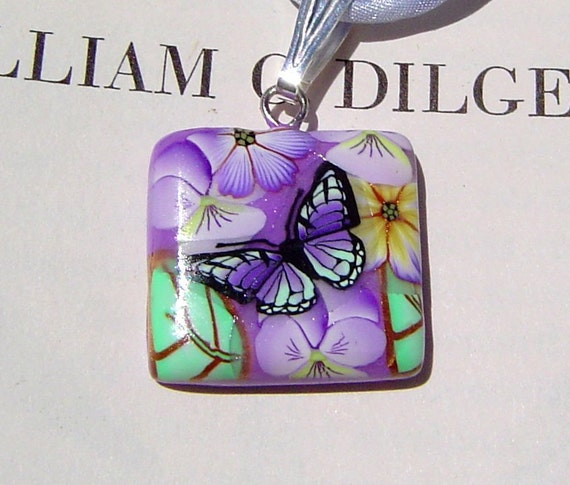 Handmade Butterfly Mini Polymer Clay Pendant Handpainted Silk Cord Necklace Mother's Day Under 20