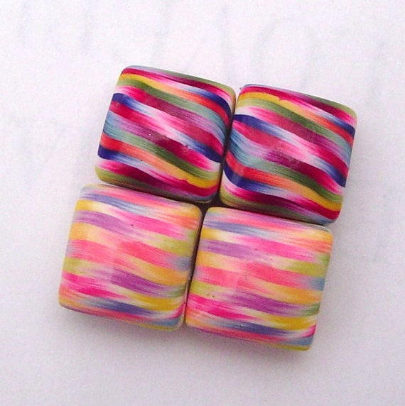 Handmade Pastel Ribbons Polymer Clay  4 Pillow Shaped Beads