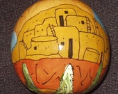 Hand Painted Gourd Christmas Ornament by Sandy Short -Mesa Verde, Colorado.