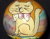Hand Painted Gourd Christmas Ornament by artist Sandy Short Whimsical Tan Kitty
