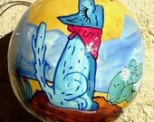 """Hand Painted Gourd Christmas Ornament by Sandy Short  """"Desert Coyote"""""""