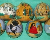 Seven  Hand-Painted Gourd Christmas Ornaments by Sandy Short-TAOS designs.