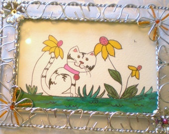 FLOWER KITTY CAT original watercolor art with frame by Sandy Short