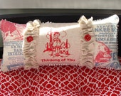 Thinking Of You Cottage Redwork Pillow Embroidery Chenille Holiday Gift Birthday Red White Blue
