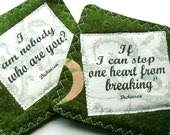 Recycled Quotes Coasters fabric set 2 Emily Dickinson