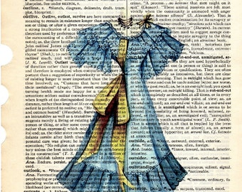 Blue Ladies Spring Dress dictionary book page collage art print 1800s Buy 3 get  another 1 freeprint print
