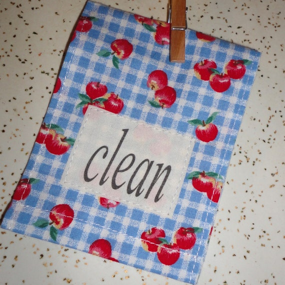 Country Mini dish towel Dishwasher Clean Dirty Magnet sign Blue checks Red Apples country