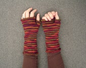 Stripey Wool Wrist Warmers