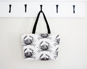 Crab Tote Black and White
