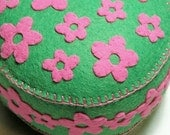 SALE Field of Flowers large pincushion pink and green