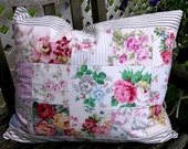 Romantic Roses Sampler  Floral and Ticking Full Size Pillow Sham