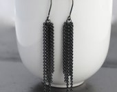Brilliant Silver or Oxidized Tassel Earrings - sterling silver chain