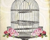 aNTiQUe BiRD CaGe DIGITAL COLLAGE SHEET large 5x7 PRINTABLE original design vintage paper altered art supplies scrapbooking handmade greeting cards journals