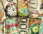 WHiMSiCaL 1 x 2 inch vintage designs Digital Collage Sheet U-PRINT Domino Size images microscope glass slide soldered pendant altered art scrapbooking jewelry making supplies sh1a