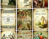 SToRYTiMe CoLLeCTioN 9 Birds Circus Elephant Baby atc backgrounds antique vintage paper digital collage sheet hang tags scrapbooking s2