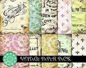 DIGITAL COLLAGE SHEET - ViNTaGe PaPeR PaCK SeT of 10 large background patterns antique sheet music paris fleur de lis scrapbook supplies
