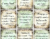 SeT of 9 inspirational quotes DIGITAL Collage Sheet U-PRINT altered art paper supplies scrapbooking handmade greeting cards hang tags no.3