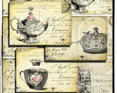 tHe QUeeNs TeA PaRTy WHiMSiCaL DiGiTaL CoLLaGe sHeeT original DeSiGNs antique postcards paris vintage aged stained paper backgrounds handmade greeting card invitations making supplies altered art scrapbooking printable download kit