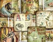 SToRY BLoCKs / digital collage sheet / vintage images / printable download / collage sheet / 1.5 x 1.5 inch squares sh4a
