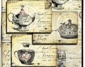 Tea Party Vintage Images Digital Collage Sheet INSTANT printable download tea pot tea cup Queens Crown Castle gift tags