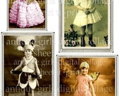 Vintage Children Digital Download collage sheet INSTANT printable download fairy girls butterfly wings antique photographs